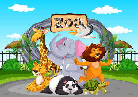 Happy animals at the zoo illustration 向量圖像