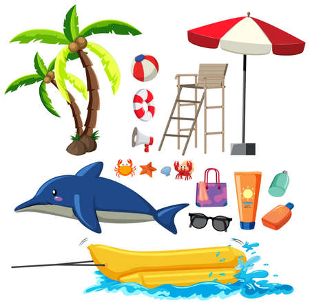 Summer set with dolphin and beach item illustration