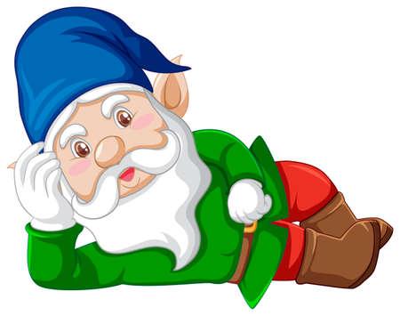 Gnome lying cartoon character on white background illustration Çizim