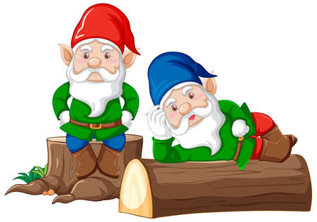Gnomes and timbers cartoon style on white background illustration