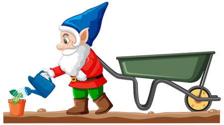 Gnomes watering plant with wheelbarrow cart cartoon style on white background illustration Çizim