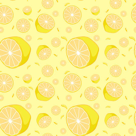 Seamless background design with yellow lemons illustration