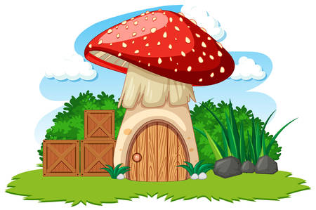 Mushroom house and some grass cartoon style on white background illustration Çizim