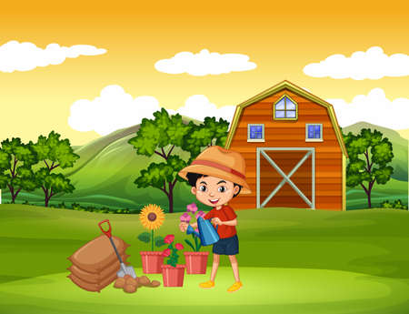 Farm scene with boy watering the flowers on the farm illustration 向量圖像