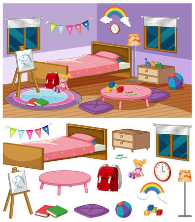 Background scene of bedroom with many furnitures illustration