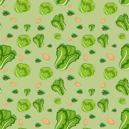 Seamless pattern with cute vegetable on green background illustration