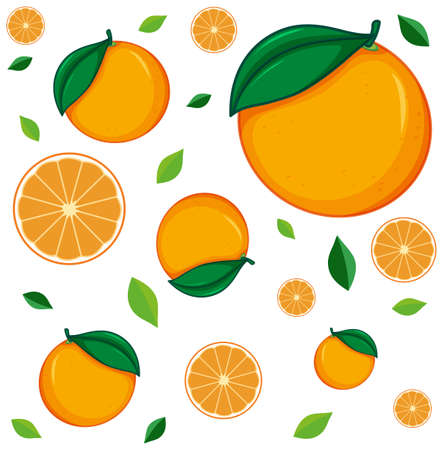 Seamless background design with fresh oranges illustration