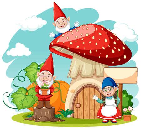 Gnomes and mushroom house cartoon style on white background illustration Çizim