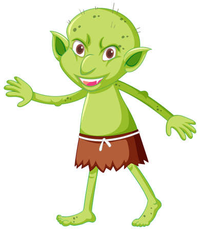 Goblin in standing position in cartoon character on white background illustration