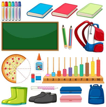 Large set of school items on white background illustration