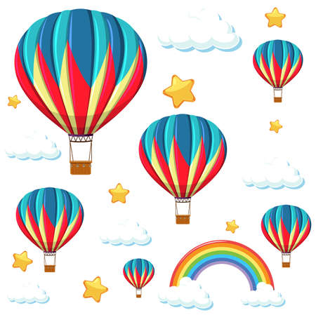 Seamless colorful balloon with rainbow and star pattern illustration Vector Illustration