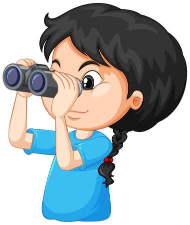 Cute girl looking through binoculars on white background illustration Vecteurs