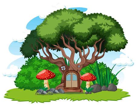 Tree house and mushroom cartoon style on white background illustration Çizim
