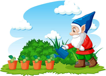 Gnome watering plants in the garden on white background illustration