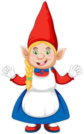 Gnome girl standing position in cartoon character on white background illustration Çizim