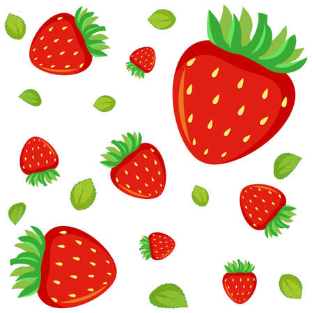 Seamless background design with red strawberry illustration 向量圖像