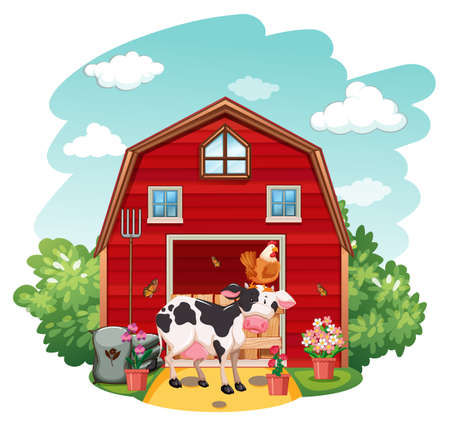 Farm scene with animals and barn on white background illustration Vettoriali