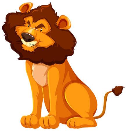 Wild lion sitting on white background illustration