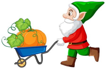 Gnome push haul cart and pumpkin cartoon character on white background illustration Çizim