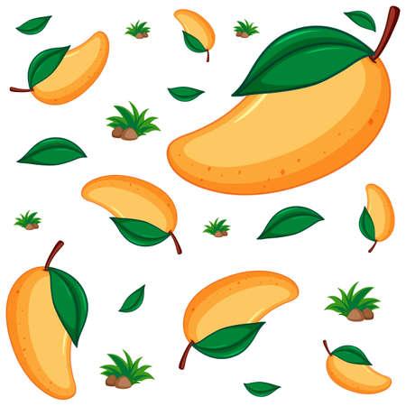 Seamless background design with fresh mango illustration