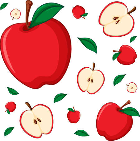 Seamless background design with red apple illustration 向量圖像