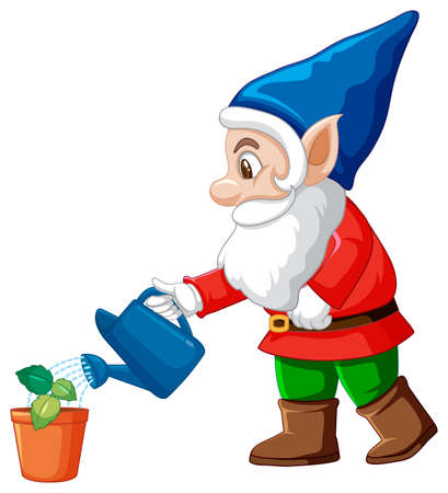 Gnome watering little tree cartoon character on white background illustration