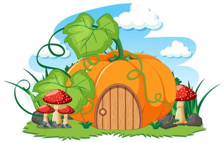 Pumpkin house and some mushroom cartoon style on white background illustration