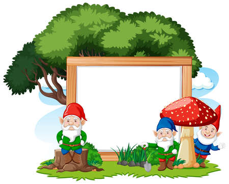 Gnomes and tree with blank banner cartoon style on white background illustration