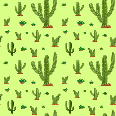 Seamless background design with green cactus illustration