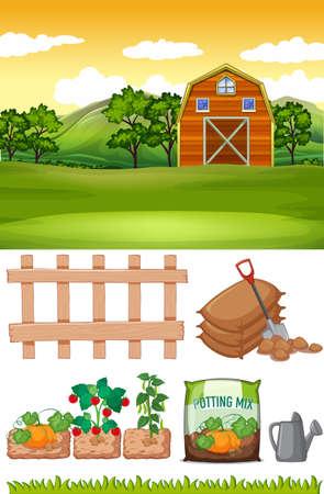 Farm scene with barn and other farming items on the farm illustration