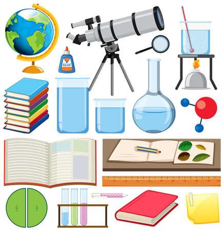 Set of school items on white background illustration Vector Illustration