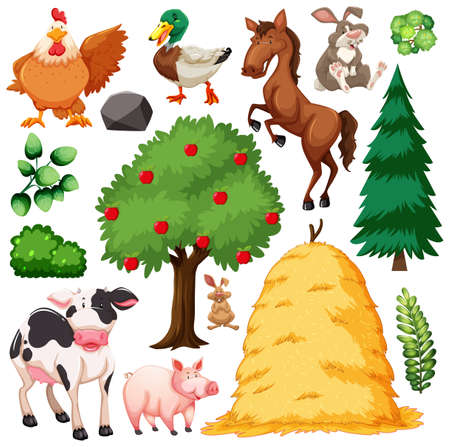 Set of cute animal farm and nature illustration