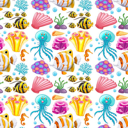 Seamless background design with sea creatures and corals illustration 向量圖像