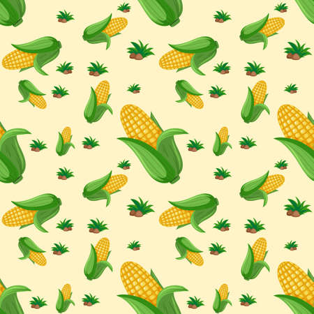 Seamless pattern with cute corn on yellow background illustration