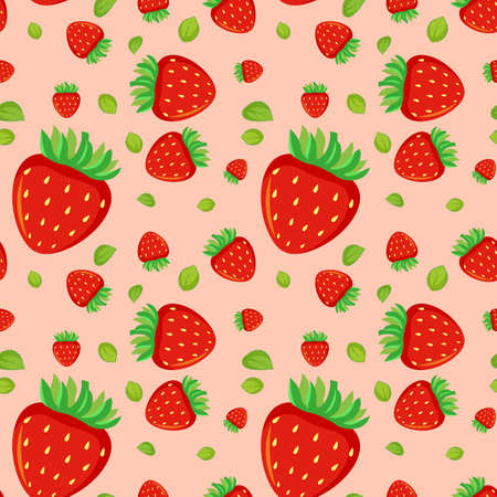 Seamless background design with red strawberries illustration