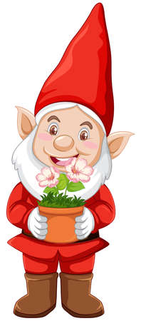 Gnome with plant pot in cartoon character on white background illustration Çizim