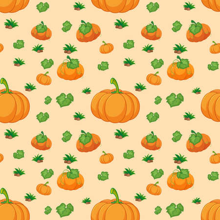 Seamless pattern with pumpkins on orange background illustration