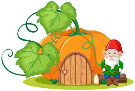 Gnome sitting beside pumpkin house cartoon style on white background illustration
