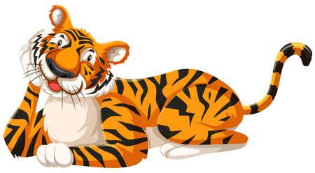 Isolated happy tiger cartoon character illustration
