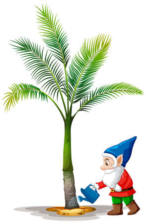 Gnome watering palm tree cartoon character on white background illustration