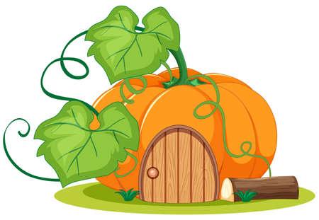 Pumpkin house cartoon style on white background illustration Ilustração