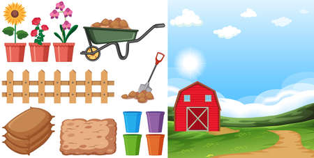 Farm scene with farmland and other farming items on the farm illustration
