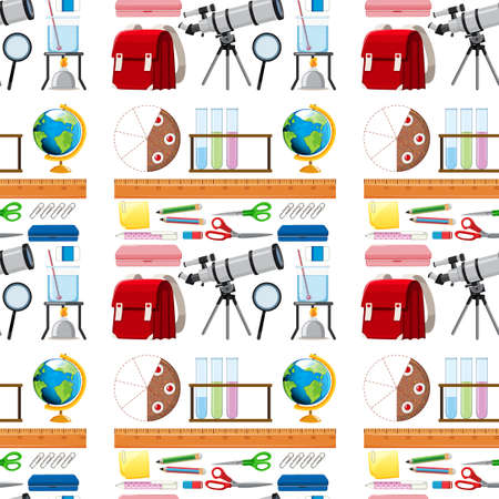 Seamless background design with school items illustration