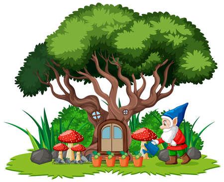 Gnomes and tree house cartoon style on white background illustration
