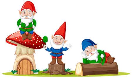 Gnomes and mushroom house cartoon character on white background illustration Çizim