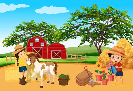 Farm scene with children and horse on the farm illustration