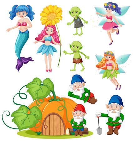 Set of fantasy folk cartoon character on white background illustration