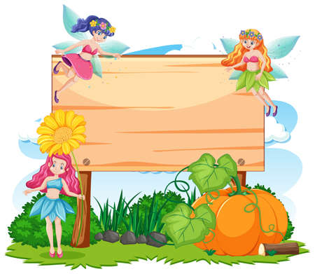 Fairy tales in garden with blank banner cartoon style on white background illustration