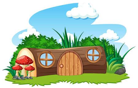 Timber house and some mushroom cartoon style on white background illustration