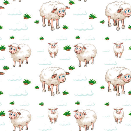 Seamless background design with white sheep and clouds illustration